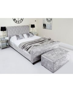 Double Silver Crushed Velvet Sleigh Chesterfield Bed