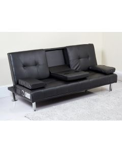 Sofa Bed in Black with Built in Drinks Holders, Speakers and USB