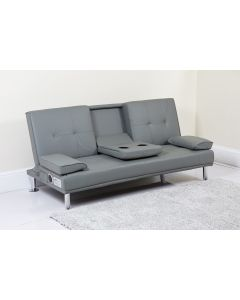 PU Sofa Bed in Grey with Built in Drinks Holders, Speakers and USB