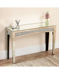 Mirrored Crushed Diamond Console Table