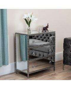Studded Mirror 3 Drawer Chest