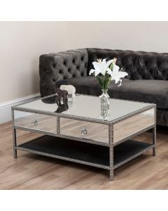 Studded Mirror 2 Drawer Coffee Table