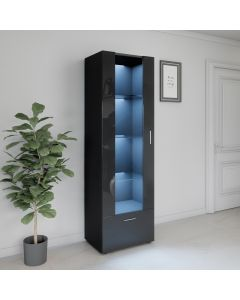 LED Tall Display Cabinet Black