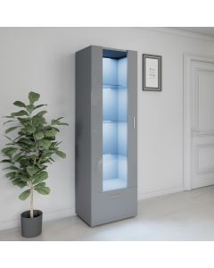 LED Tall Display Cabinet Grey