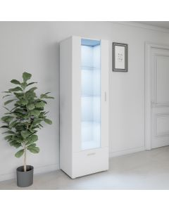 LED Tall Display Cabinet White