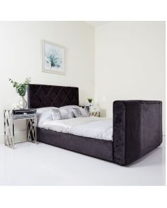 Black Velvet Diamond TV Bed Super King