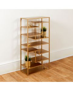 Tall Free Standing Gold and Glass Shelving Unit