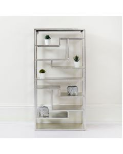Tall Free Standing Silver and Glass Shelving Unit