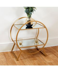 Two Tier Gold and Glass Hoop Style Shelving Unit