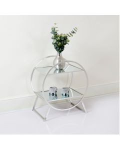 Two Tier Silver and Glass Hoop Style Shelving Unit