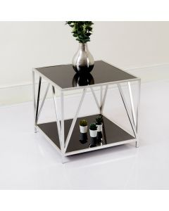 Two Tier Silver and Glass Display Unit/Side Table