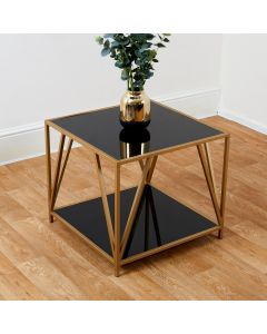 Two Tier Gold and Glass Display Unit/Side Table