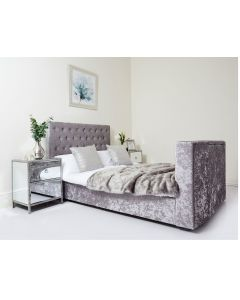 Grey Crushed Velvet Chesterfield TV Bed Super King