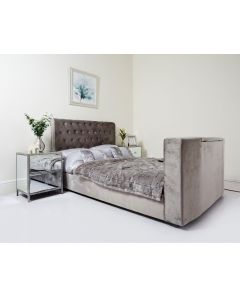 Grey Velvet Chesterfield Sleigh TV Bed Super King