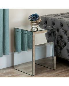 Mirrored Angled 1 Drawer Bedside / Side Table