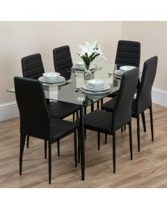 6 Seater Glass Dining Table Set with Black or White PU Leather Chairs