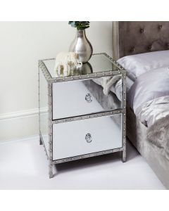 Studded Mirror 2 Drawer Bedside Table
