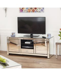 Venetian style tv/media centre with two deep cupboards, a drawer and shelf space