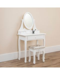 Single Oval Mirror Dressing Table Set White