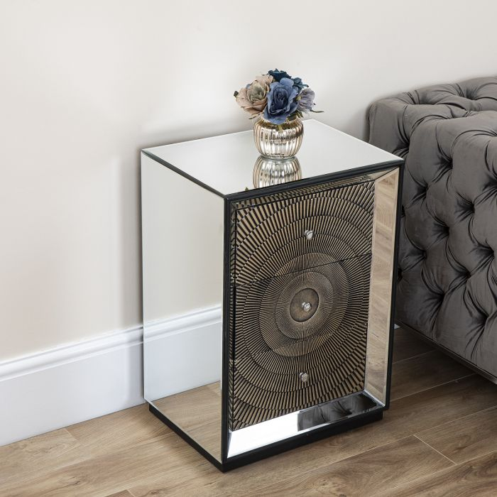 Gold Mirrored 3 Drawer Chest Abreo Home, Gold Mirrored Furniture Uk