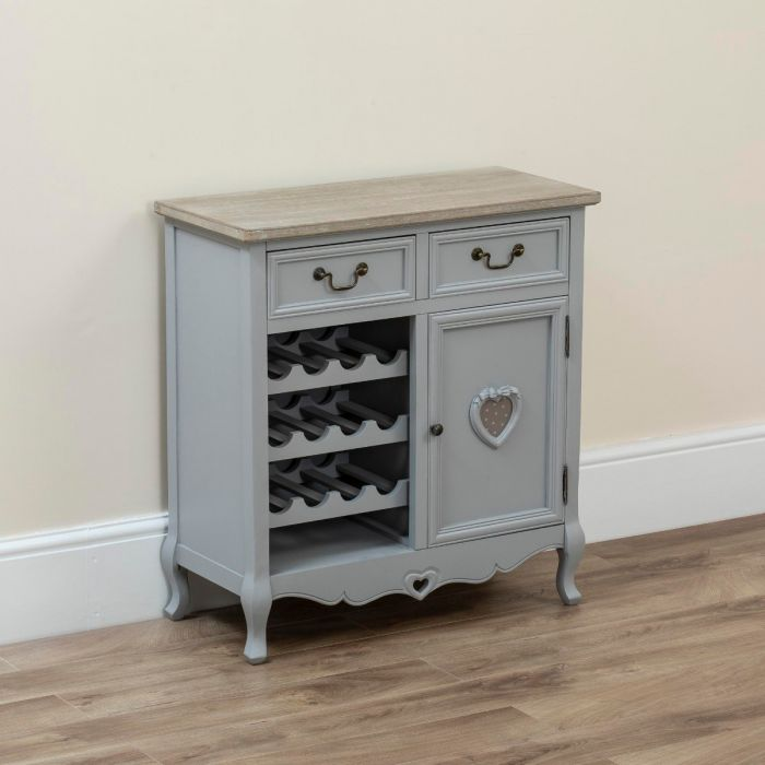 Country Kitchen Cabinet With Wine Rack Holder Grey Abreo Home Furniture