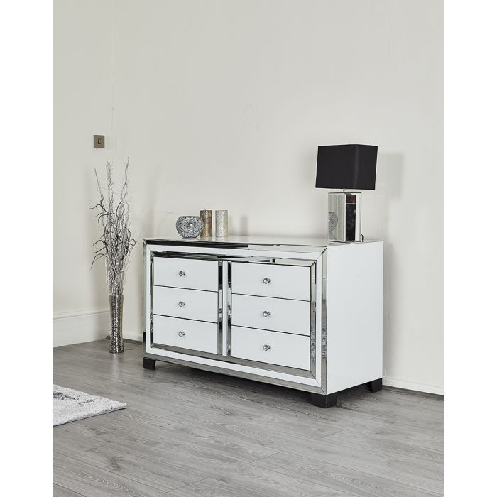Modern White Glass Mirror Chest Of 6 Drawers Abreo Abreo Home Furniture