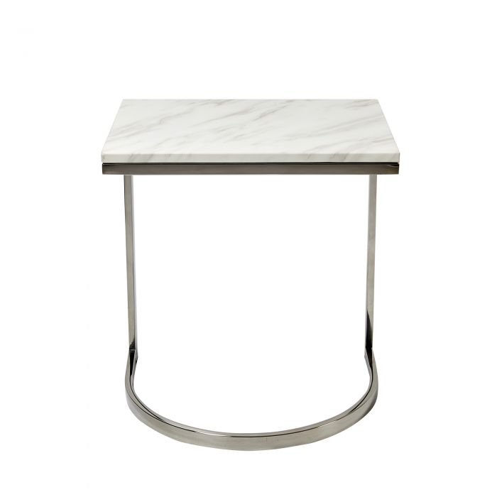 Solid White Marble Side Table With Brushed Steel Silver Legs Abreo