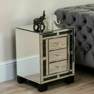 Black Diamond Crush 3 Drawer Night Stand