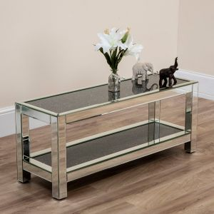 2 Tier Black Crushed Diamond Slim Coffee Table