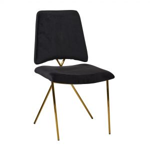 Black Soft Velvet Brass Leg Dining/Dressing Chair
