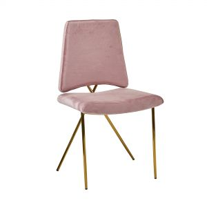 Blush Pink Soft Velvet Brass Leg Dining/Dressing Chair