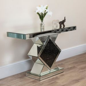 Black Diamond Crush Diamond-Shaped Console Table