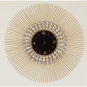 Black and Gold Glass Faced Clock with Jewels and Gold Spiked Trim