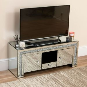 Mirrored Crushed Diamond TV Stand