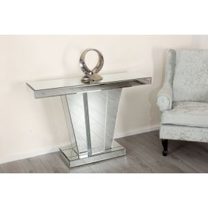 V Frame Mirrored Console Table